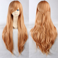 Free Shipping New Sword Art Online Asuna Yuuki Wig Light Orange Long Cosplay Wigs Anime Hair with Braid Pigtail+A wig cap