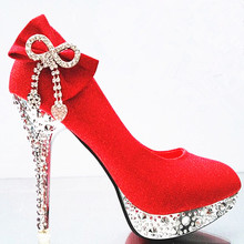 YeddaMavis Women Shoes Red Wedding Shoes Glitter Gorgeous Bridal Crystal High Heels Womens Shoes Woman Pumps Sexy Bridal Shoes love moments purple crystal shoes woman wedding shoes bride platform gorgeous high heels ladies shoes bridal dress shoes