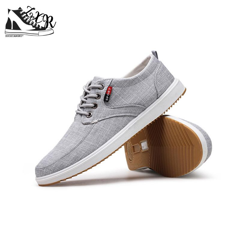 Zuoxiangru Spring Summer Casual Shoes Mens Canvas Shoes For Men Lace-Up Brand Fashion Flat Shoes