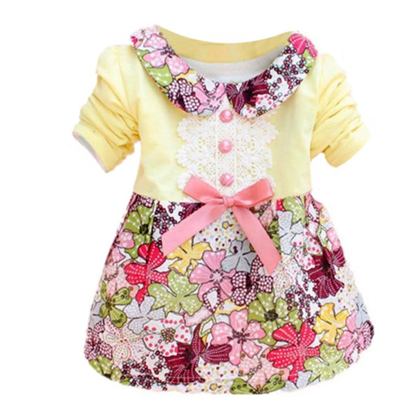 Lovely Baby Girls Clothes Kids Doll Collar Princess Lace Floral Dress Girls Cloth Hot