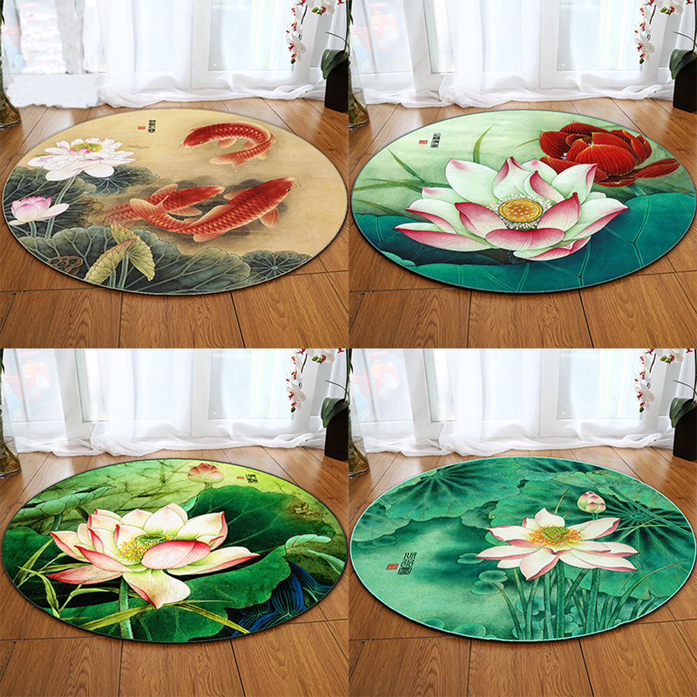 Fashion Chinese Style Rugs Green Leaf Lotus Flower Animal Carp 3D Pattern Living Room Rug Trend Bedroom Yoga Round Carpet