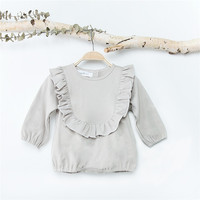 Baby Girl Boy Romper Loose Cottons Gray Long Sleeve Princess Ruffles Baby Clothes Newborn Jumpsuit Rompers