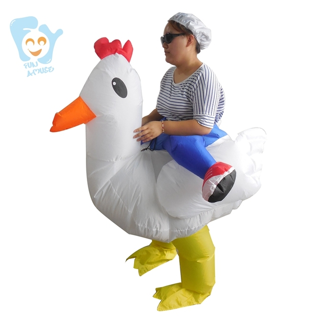 New Year Christmas Halloween Adult Rooster Costume Carry me  Inflatable Chicken Clothing Animal Cosplay Mascot Fancy Dress