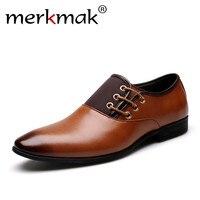 Merkmak Big Size 38 47 Men Wedding Dress Shoes Black Brown Oxford Shoes Formal Office Business