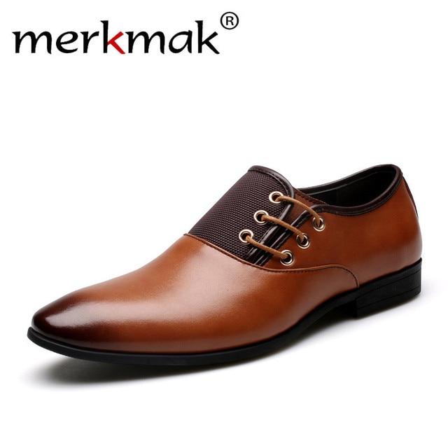 Merkmak Size 38 47 Men Wedding Dress Shoes Black Brown Oxford Formal Office