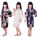G16811 2016 de Seda Del Satén Kimono Robes Albornoz niño Floral Bridesmaids Batas Kimono Bata Bata de Seda de Raso Sólido
