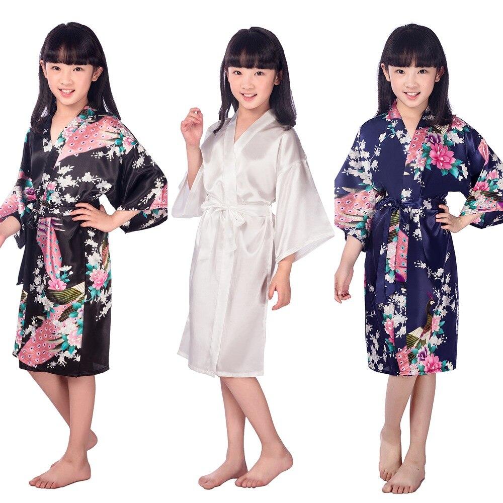 G16811 2017 Seide Bademantel kind Satin Kimono Roben Floral Roben ...