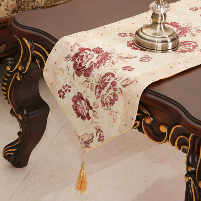 European Style Embroidery Chinese Table Runners Beautiful Home Decoration  Elegant Luxury Wide Table Runner