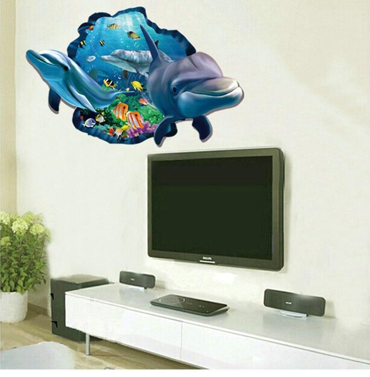 И 3D через воду большой dophin Ocean Рыбы DIY Дети Спальня Детские номера домашнего декора ванной водонепроницаемый ПВХ стены стикеры наклейки