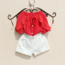 Chiffon Blouse Kids New Fashion Girls Tops and Blouses Summer Bow Shirts Ruffle Short Sleeve Clothes for Teenage Girl Baby Shirt