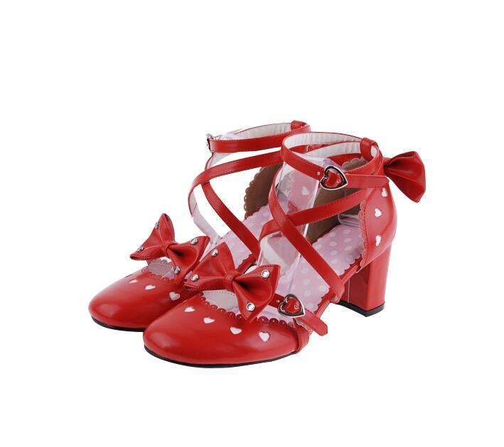 Partie Haute Empreinte Fille Femme Chaussures Lolita Robe Pompes 46 D'amour rouge Talons Lady Mori Angélique Rose Princesse Femmes Coeur Bowtie Cosplay 6qSwB8Wd