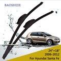 """Limpiaparabrisas cuchillas para Hyundai Santa Fe (2006-2012) 24 """"+ 18"""" estándar fit J gancho brazos del limpiaparabrisas"""