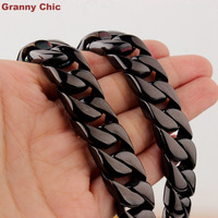 Granny Chic 7 40 Men S Hip Hop Black Color High Quality Stainless Steel Curb Chain