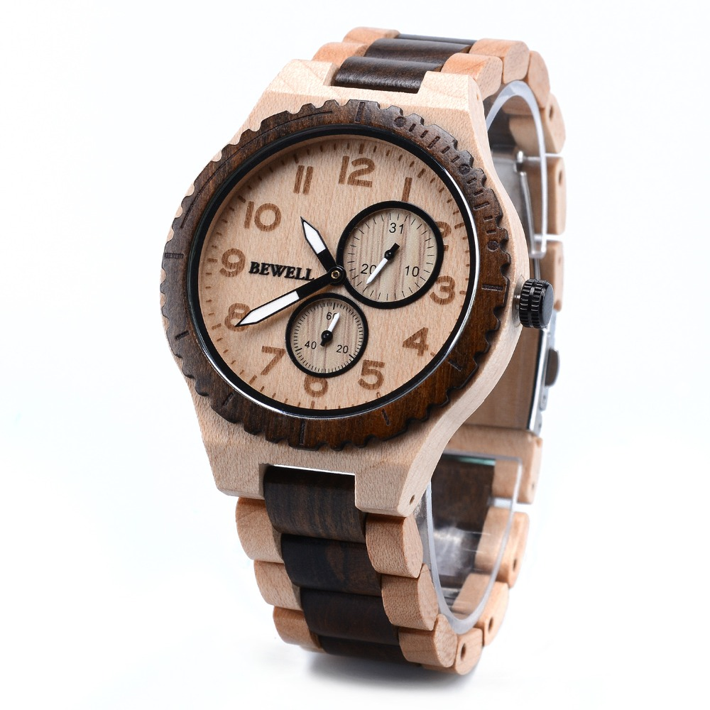 BEWELL Mens Watches Wooden Sport Top-Brand Luxury Hot Boy Quartz W154A Analogue Sells