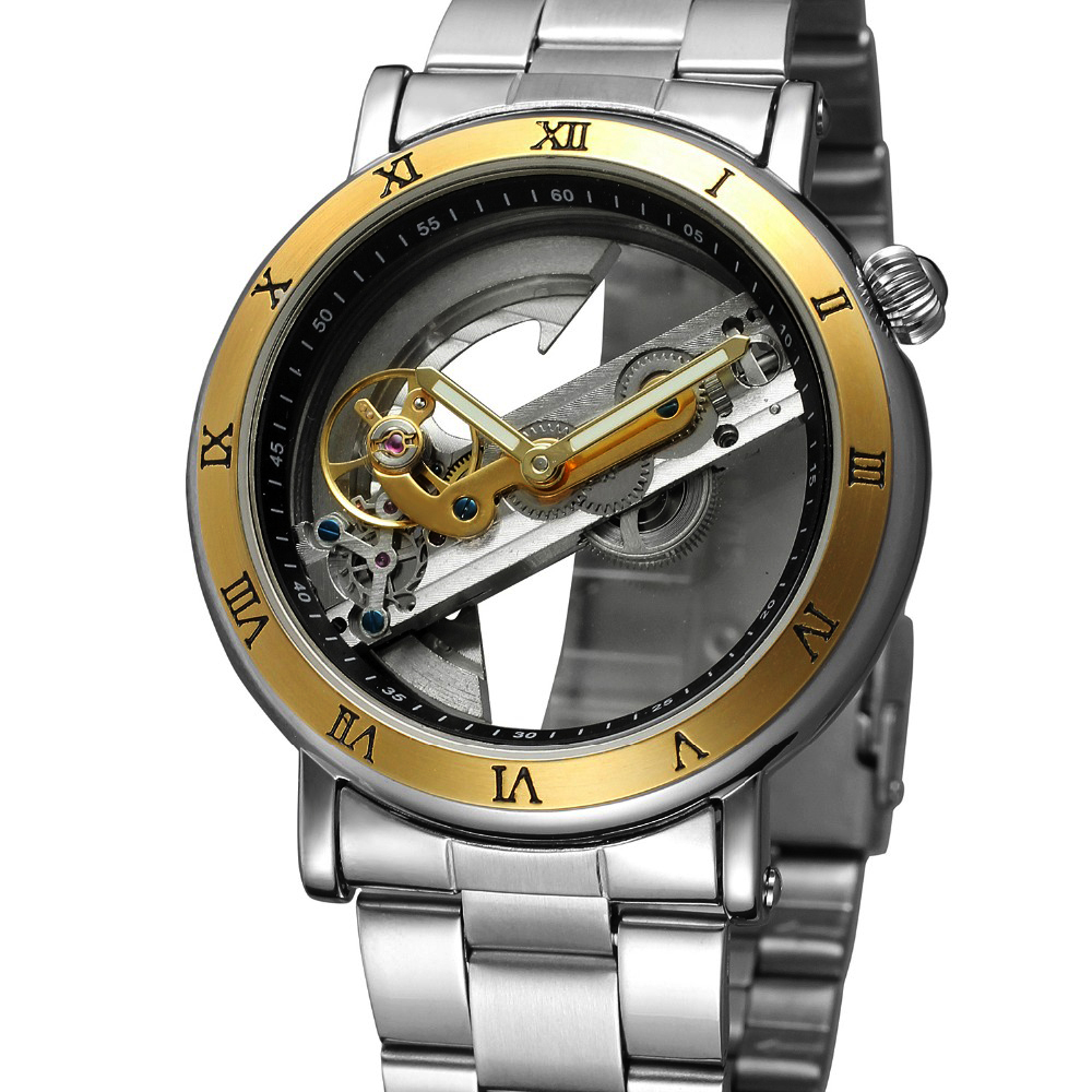 2018 Men's Watch Self-wind Automatic Mechanical Wristwatch Male Skeleton Double-sided Flywheel Stainless Steel Hollow Out Clock k colouring women ladies automatic self wind watch hollow skeleton mechanical wristwatch for gift box