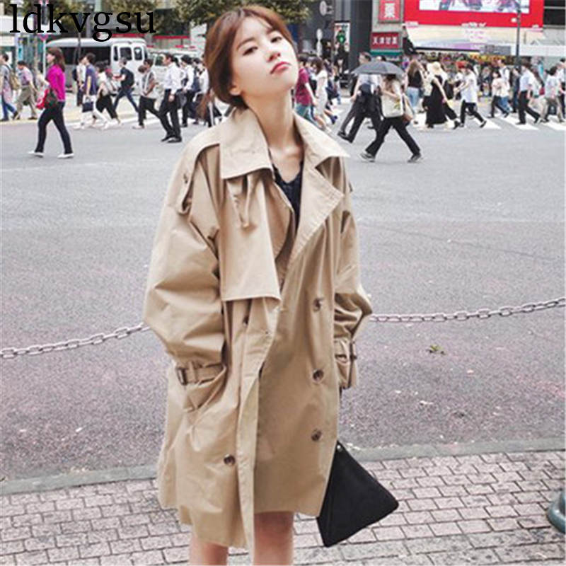 2019 New Spring Autumn Trench Coats Casual Loose Long Windbreaker Women's Cardigan Coats Outerwear V321