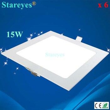 Free shipping 6 pcs Square LED panel light 15W 1300LM AC85-265V 2835SMD led ceiling light downlight bulb spotlight lamp lighting
