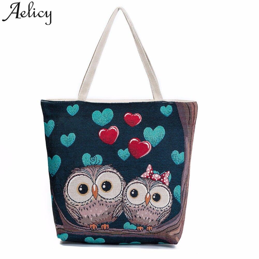 100% Quality Fashion Women Owl Printed Canvas Tote Casual Beach Bags Large Capacity Single Shoulder Bag Shopping Handbags 2018 New Sac A Main Women's Bags