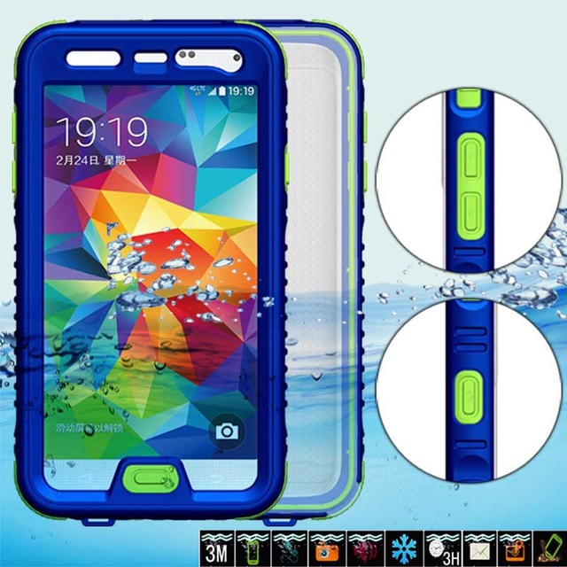 huge selection of 2df4d abb01 US $14.98 |Waterproof Case For Samsung Galaxy S5 i9600 Phone Bag With  Button Diving Underwater Plastic+Silicon Water/Dirt/Shock Proof Cover on ...