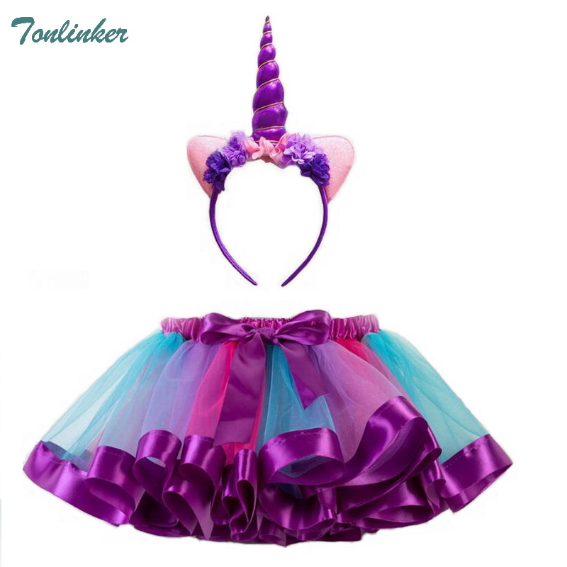 Girls Unicorn Costume Pony Rainbow Tutu Skirts Costumes With Headband For Kids Birthday Theme Party Cosplay Costumes 2ps