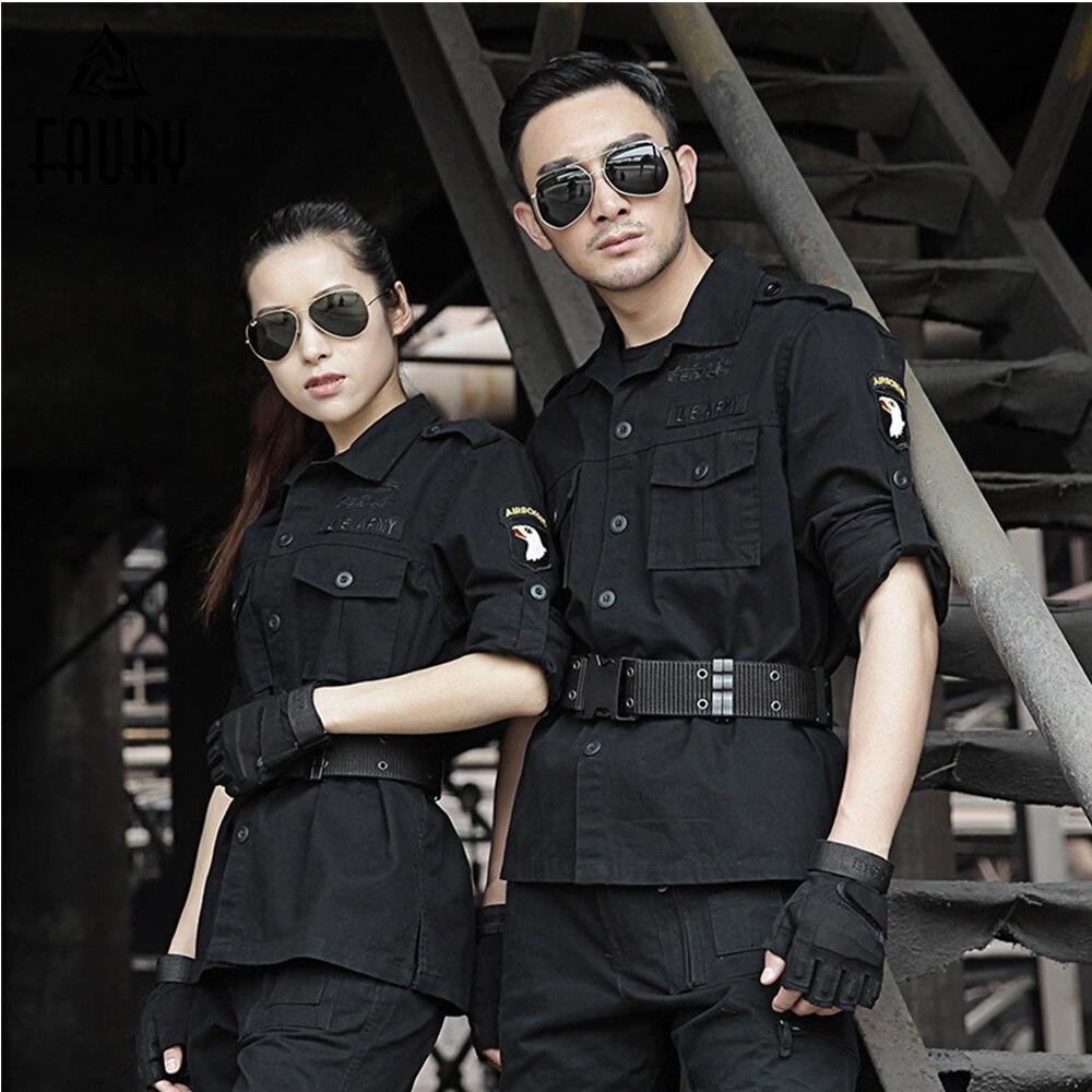 2018 Military Uniforme Tactical Army Airborne Combat Military Cotton Black Tactico Uniforms Men Combat Jacket+cargo Pants Female