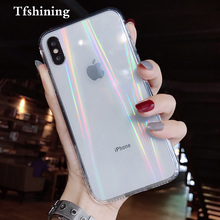 Tfshining Luxury Gradient Rainbow Laser Phone Case for iPhone X XS Max XR 8 7 6 6S Plus Clear Soft TPU Acrylic Back Cover Fundas