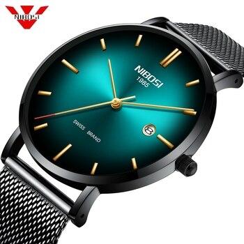 50pcs/lot DHL Free Shipping NIBOSI 2362 Men Watch Ultra Thin Date Simple Quartz Sport Watch Men Chronograph Wrist Watch Clock