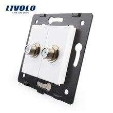 Livolo ЕС Стандартный Гнездо Аксессуар для продуктов DIY, База Гнездо Двойной SATV розетка vl-c7-2st-11