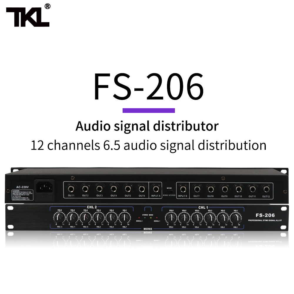 TKL FS206 Professional equipment Stereo Mono Audio Signal Splitter Amplifier Distributor 2 in 10 out XLR