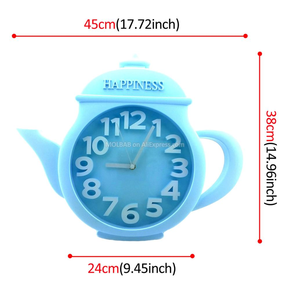 Large Blue Teapot Wall Clock Glass Cover Numerical Watch Dial Modern