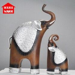 2 sztuk/zestaw europa żywica drewna ziarna rzeźby dekoracji posąg słonia z pamiątkami salon ozdoba prezenty nowoczesna dekoracja w Posągi i rzeźby od Dom i ogród na