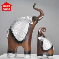 2 teile/satz Europa Harz Holzmaserung Statuen Dekoration Elefanten Statue Souvenir Wohnzimmer Ornament Geschenke Moderne Dekoration