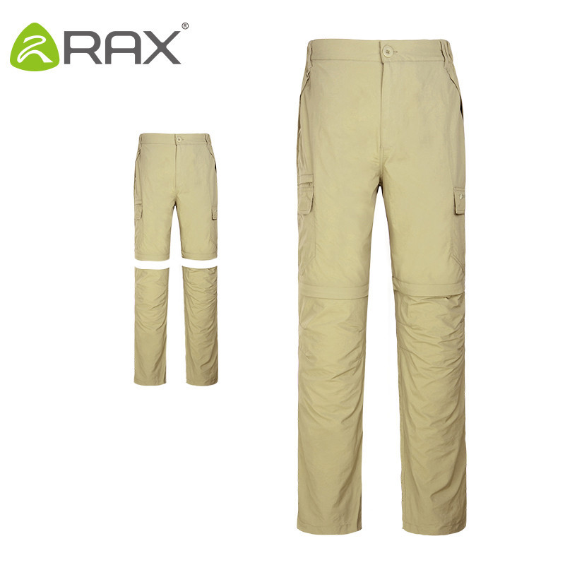 Rax Removable Outdoor Quick-drying Hiking Pants Man 2 in 1 Windproof UV-proof Outdoor Fishing Trekking Cycling Camping Men Pants