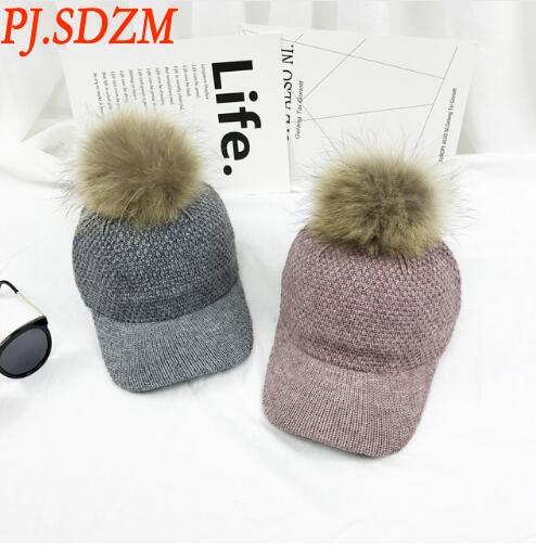 New Winter Raccoon Fur Bulb Warm Warm Baseball Cap Ladies Knittied Joker Hat Casual Baseball Caps