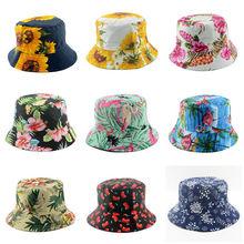 Reversible Bucket Hat Womens Summer cotton wide brim Floppy hat Fashion Gift Garden Golf Beach Cap Floral WH035D