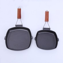 Kitchen Collapsible Steak Frying Pan Master Non-Stick Divided Grill/Fry/Oven Meal Skillet Baking Black Barbecue Pot