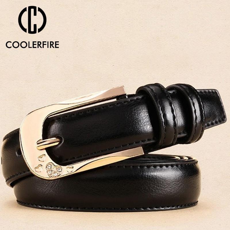 COOLERFIRE New Designer Ladies Unique Design Quality Pure Cow Cowhide Leather Women Retro Female Accessories Jeans   Belt   LB018