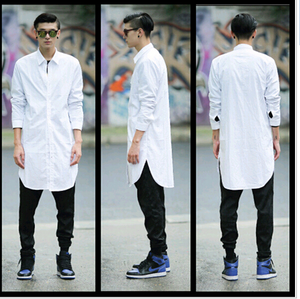 Camisa Social Casual Hip Hop Long Shirt Men Fashion Dress Shirt Big And Tall Long Sleeve Loose ...