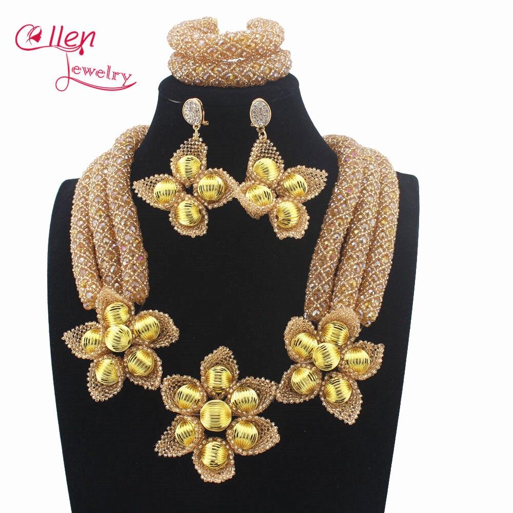 Ensemble de bijoux de perles de cristal de mariage nigérian romantique ensemble de bijoux de perles africaines de Champagne Costume de femmes W13945