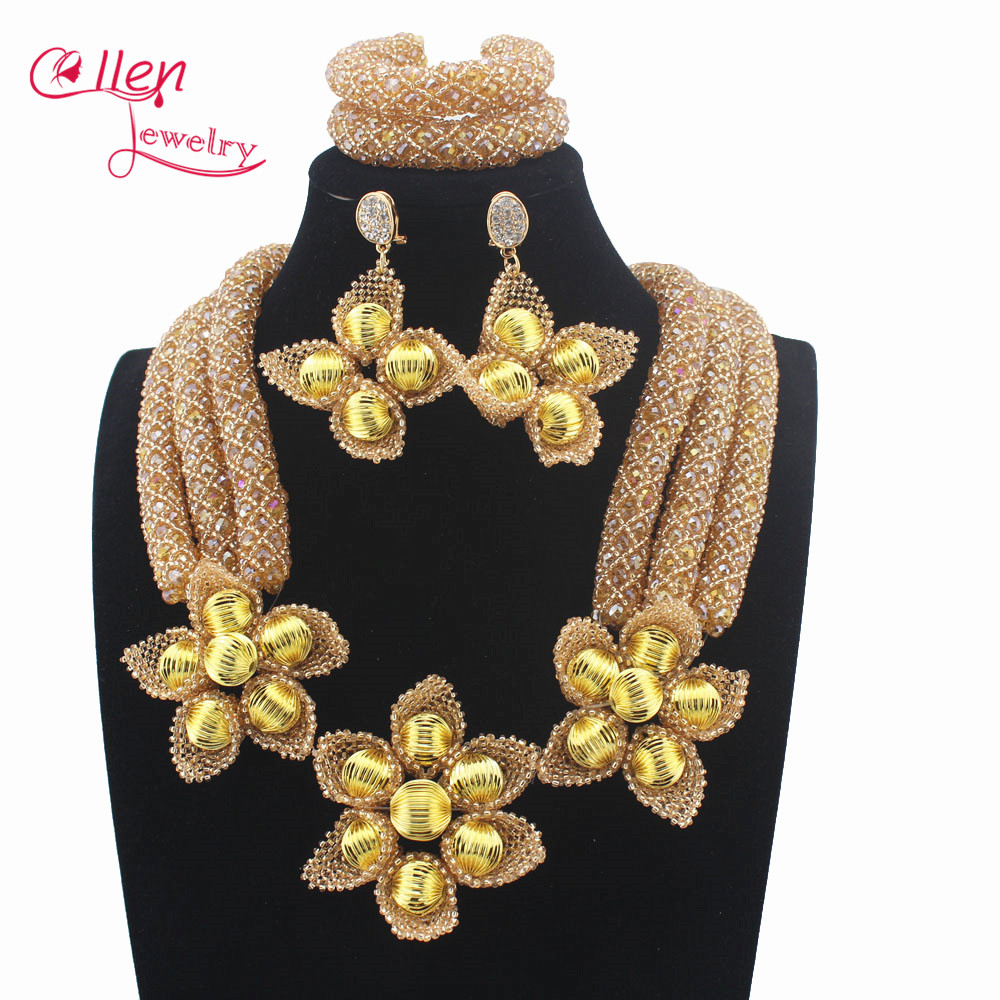 Romantic nigerian Wedding Crystal Beads Jewellery Set Champagne african Beads Jewelry Set Women Costume W13945Romantic nigerian Wedding Crystal Beads Jewellery Set Champagne african Beads Jewelry Set Women Costume W13945