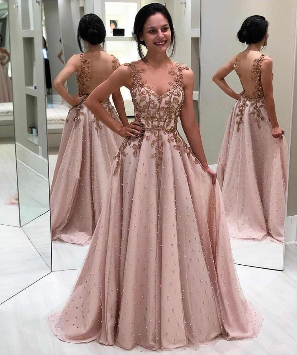 Robe de soiree A Line Beaded Pears Pink   Evening     Dresses   2019 V Neck Muslim   Evening   Gown See Through Back Formal Prom Party Gown