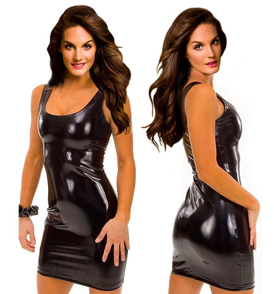 7e93595d4e2f1 2018 Sexy Women Black Leather Latex Dress Sleeveless Sexy Fetish Bodycon  Catsuit Lady Exotic Nightclub Dresses