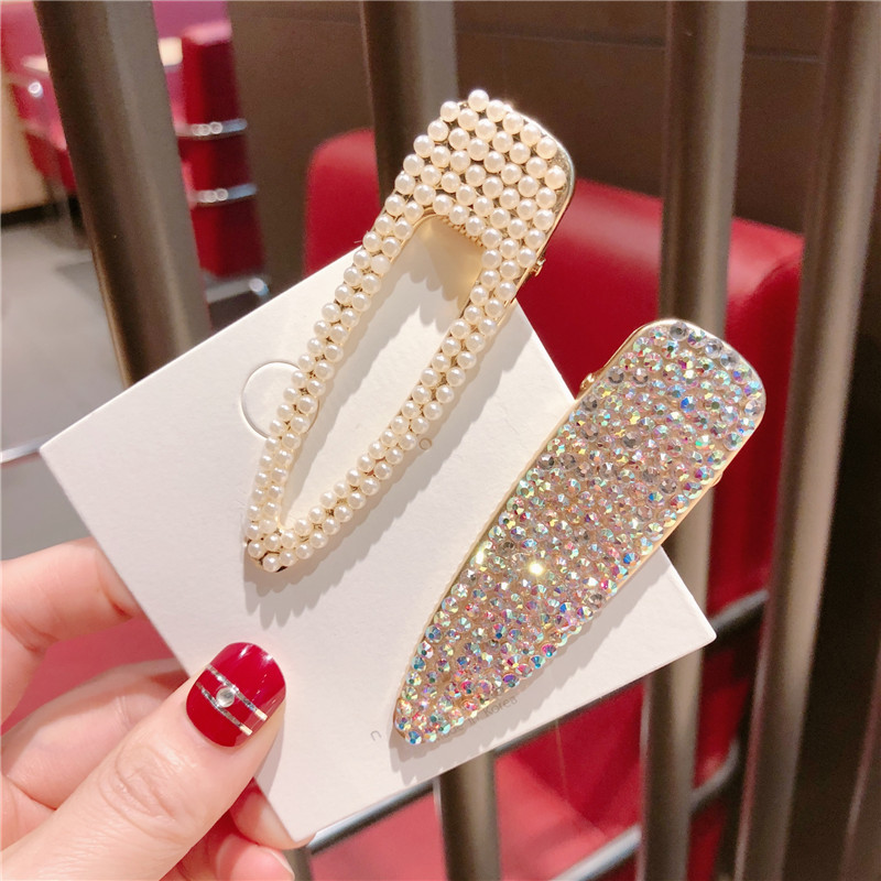Korea Shining Colorful AB Crystal Rhinestone Geometric Triangle Hairpins Hairgrips For Women Fashion Hair Jewelry