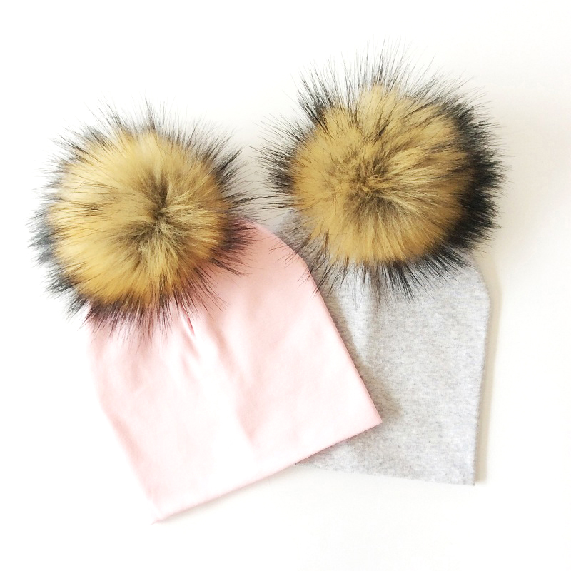 Baby Hat Faux Fur Baby Cap Cotton Pompom Bobble Hat For Kids Winter Boys And Girls Caps Artificial Fur Children's Hats new super mario cotton caps red hat mario and luigi cap 5 colors anime cosplay costume halloween buckle hats adult hats caps