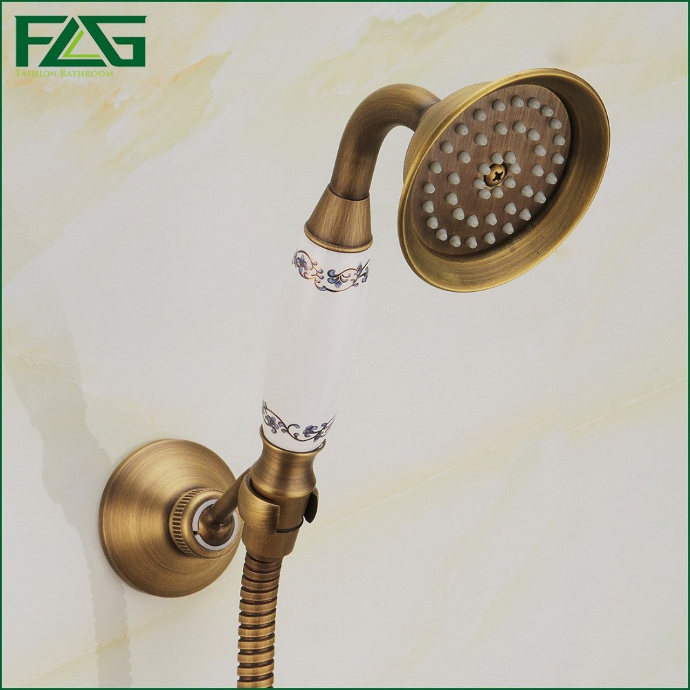 FLG Bamboo Shower Faucet Wall Mounted Bathtub Tap With Ceramic Mixer ...