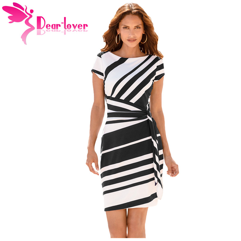 Dear Lover work dresses women 2017 Autumn Pencil Red/Black/Navy White Stripe Knot Sheath Party Dress Vestidos Robes Casual 61657