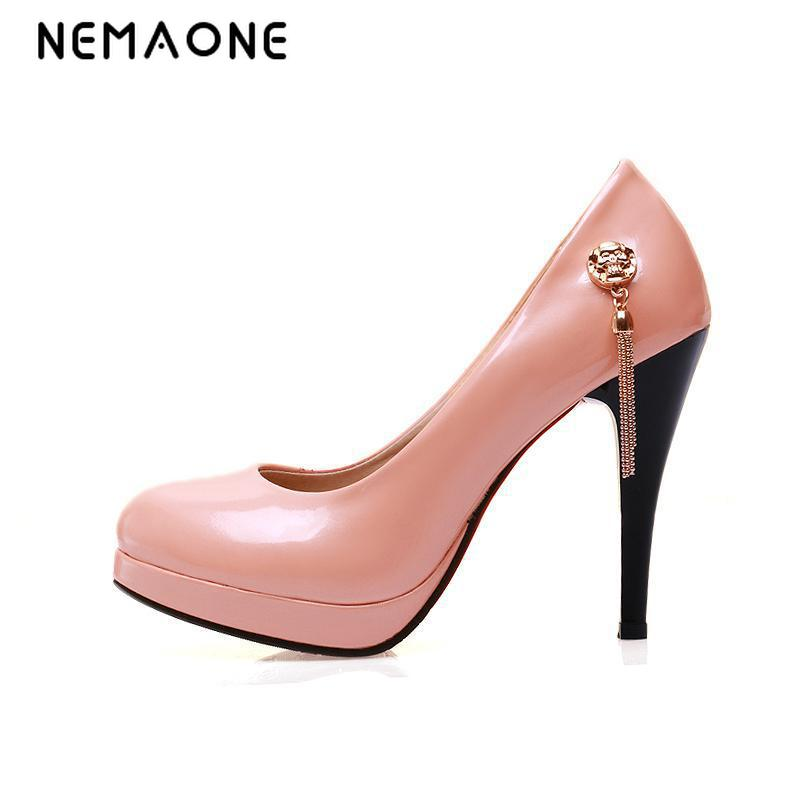 NEMAONE women thin high heel shoes platform pointed toe brand female fashion heeled sexy pumps heels shoes plus big size 34-43 plus size 34 43 new hot sale thin heel women pumps pointed toe sequin simple fashion high heels ladies dress shoes gold