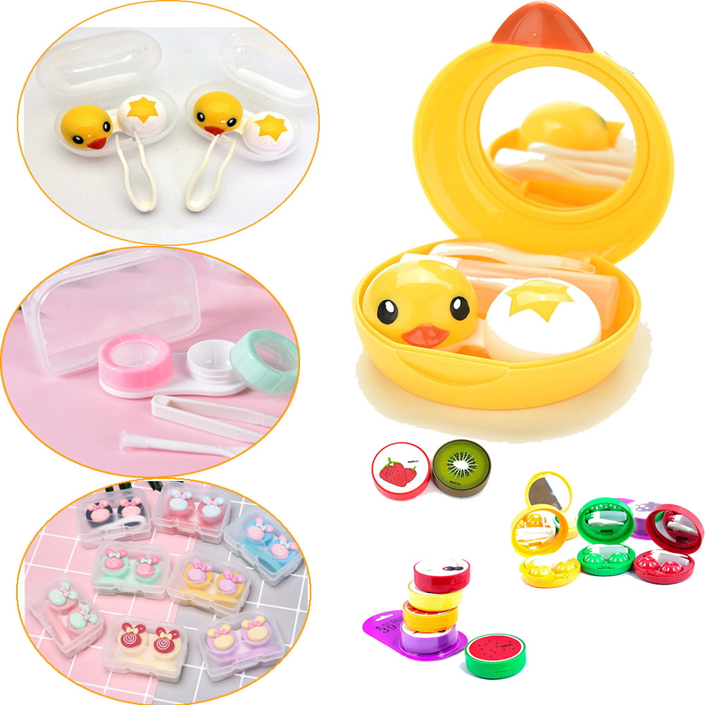 Mini Contact Lens Case Box Travel Kit Mini Eyewear Accessories Cartoon Duck Design Contact Lens Box Case Holder Container Case