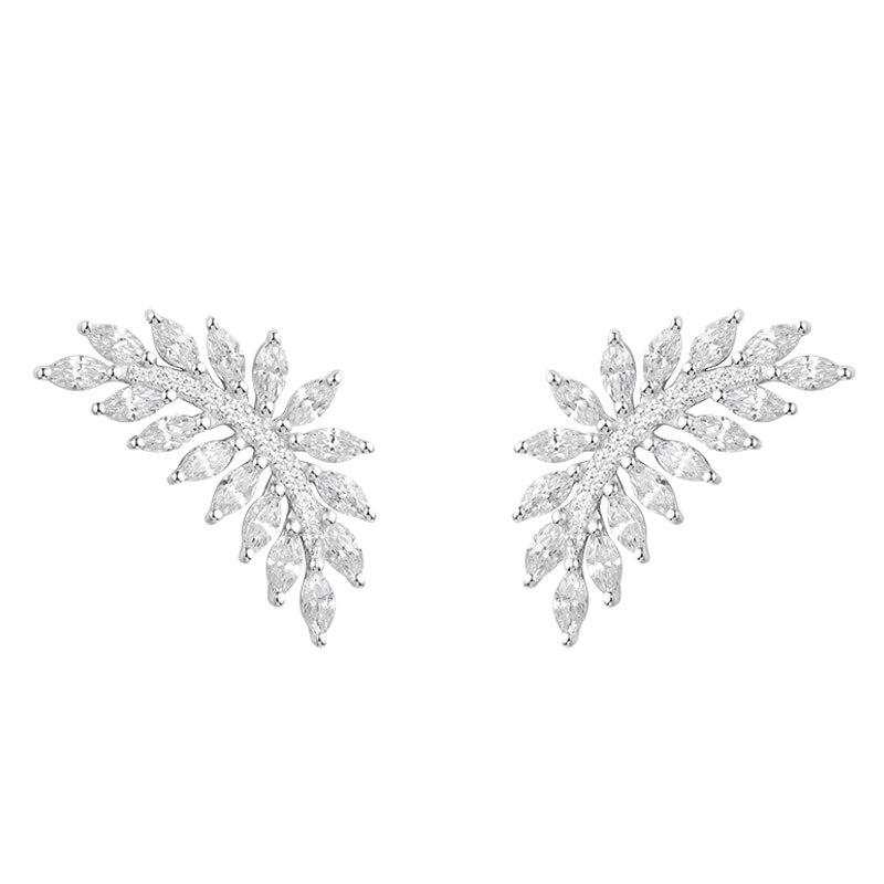 все цены на SKA Brand Stud Earrings For Women Monaco Fine Jewelry 925 Sterling Silver Olive Leaf Inlaid Zircon Fashion Earring AE10738OX