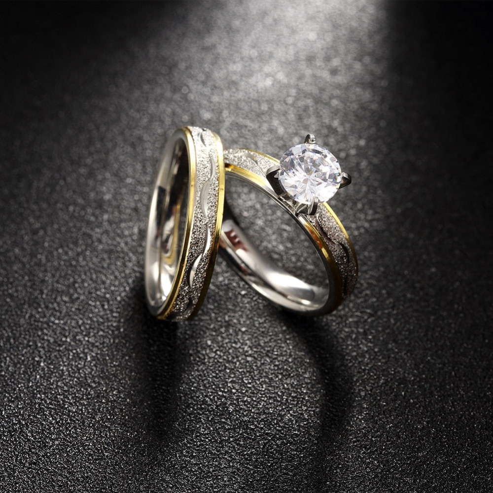 jexxi promotion women cubic zirconia wedding ring sets jewelry gold color fashion bands engagement finger ring set bijoux - Cubic Zirconia Wedding Ring Sets